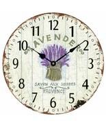 "Wall Clock 12"" Floral Flowers Lavender Purple Vintage Shabby Chic Farmhouse - $49.00"