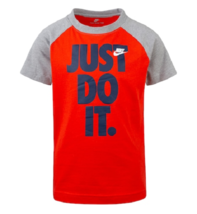 Nike Boys Red JUST DO IT Red Raglan Short Sleeve T Shirt Size 6 New 86E767 - $12.86