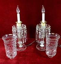 Pair Crystal Lamps Candlestick  Etched  Frosted Glass   Floral Motif  20... - $275.00