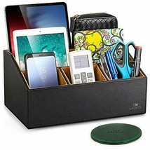 "Leather Desk Organizer with a 4"" Coaster, Large Capacity 5 Essential-Black - $43.48"