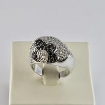 925 Silber Ring mit Blüte aus Zirkonia Kubische Weiß & Schwarz image 1