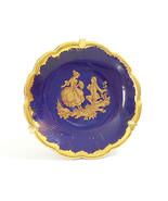 Vintage LIMOGES Miniature PLATE France Porcelain COBALT Blue Gold Stand ... - $16.82