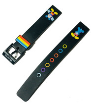 Disney Mickey Mouse Tri-color 14mm Black Rubber Replacement Watch Band NEW image 2
