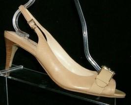 Cole Haan 'Air Judy' beige leather round peep toe buckle slingback heels 7B - $37.04
