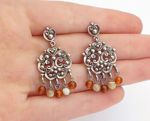 Primary image for 925 Sterling Silver - Vintage Petite Citrine Beaded Swirl Drop Earrings - E9636