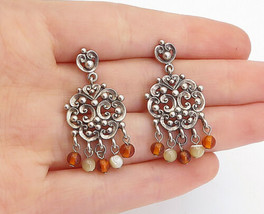 925 Sterling Silver - Vintage Petite Citrine Beaded Swirl Drop Earrings ... - $30.89