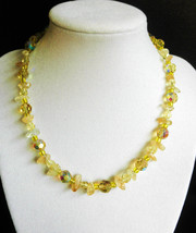 """16"""" genuine citrine, crystal, and gold artglass beads necklace - $80.00"""