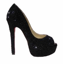 Black Crystal Bride Shoes High Heels red bottom Rhinestone Bridal Weddin... - $145.00