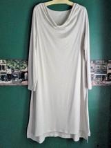 EILEEN FISHER L 14 16 Pure Cotton Nightgown Hi-Lo Hemline Drape Neck Pebble - $83.69