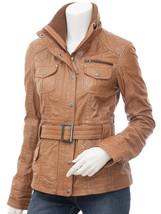 QASTAN Women's New Stylish Tan Belted Sheep Leather Long Jacket/Coat QWJ56 - $149.00+
