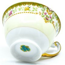 Meito China Blue Yellow & Pink Flower Gold Accent Teacup Tea Cup image 6