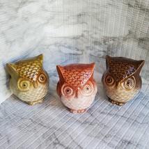 Ceramic Owls, set of 3, Decorative Accents, Fall Decor, orange green brown