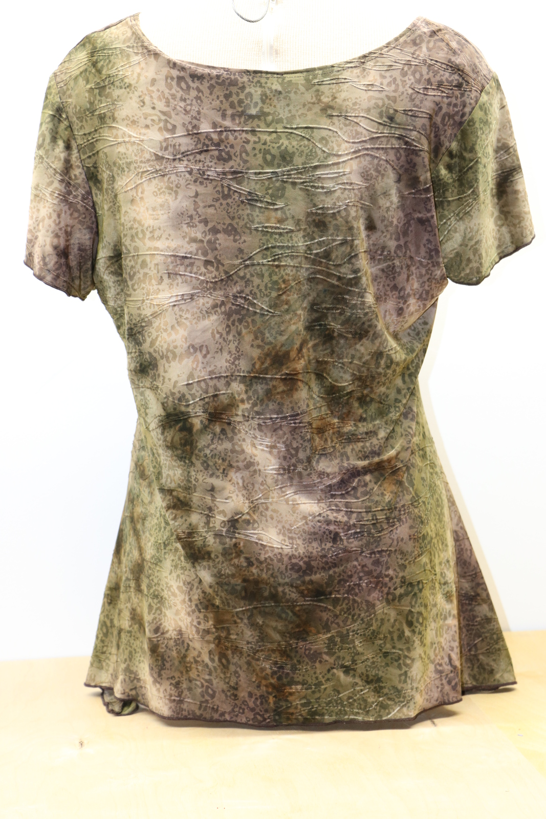 DressBarn Woman's XL Olive Green Jeweled Polyester Geometric Blouse Dress Barn