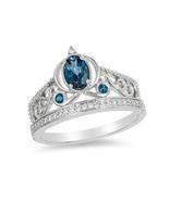 Enchanted Disney Cinderella Oval London Blue Topaz Carriage Ring Sterlin... - £62.34 GBP