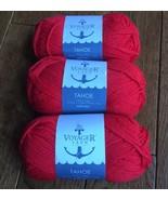 X3 Voyager Yarn Tahoe Lipstick Red $4.25ea 100% Wool 107yd 50g Fair Isle... - $9.92