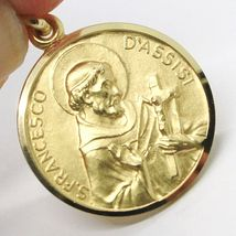 18K YELLOW GOLD ST SAINT FRANCIS FRANCESCO ASSISI MEDAL, MADE IN ITALY, 17 MM image 4