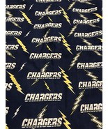 """Fabric Piece Chargers Football NFL Craft Hobby Sewing 91"""" X 58"""" - $14.34"""