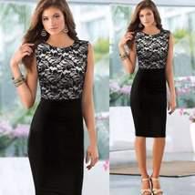 Elegant Lace Patchwork Women Bodycon Dress - $19.98