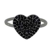 Valentine Day Love Heart Black Spinel 925 Sterling Silver Ring Sz 6 SHRI... - £9.39 GBP