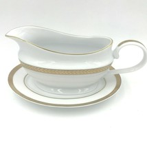Block Manchester Gold Gravy Boat with Underplate Encrusted Laurel Band DH1 - $37.95