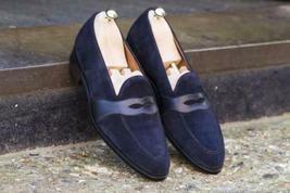 Handmade Men's Blue Slip Ons Suede Dress Loafer Shoes image 2