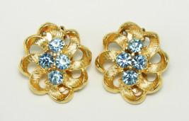 Vintage Pale Blue Rhinestone GT Earrings - $5.00