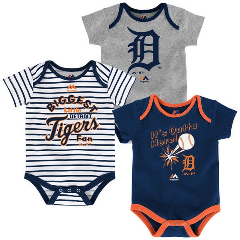 Detroit Tigers Infant Home Run Bodysuit 3-Piece Set MLB Baby Baseball