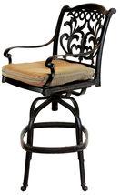 Patio outdoor living cast aluminum bar stools set of 2 swivel Flamingo Bronze. image 3
