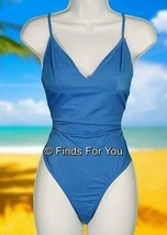 J Crew Womens V-Neck Tank Bathing Suit Swimsuit Bright Azure A2166 Size 10 - $27.59