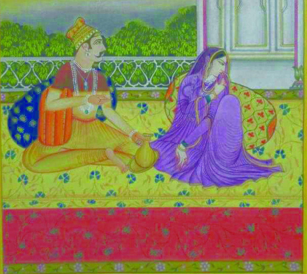 KANGRA STYLE MINIATURE ART PAINTING OF MUGHAL AT THEIR EMPIRE