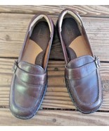 Born Size 10 Brown Leather Buckle Trim Loafer Slip On Shoes Career Comfort - $24.22