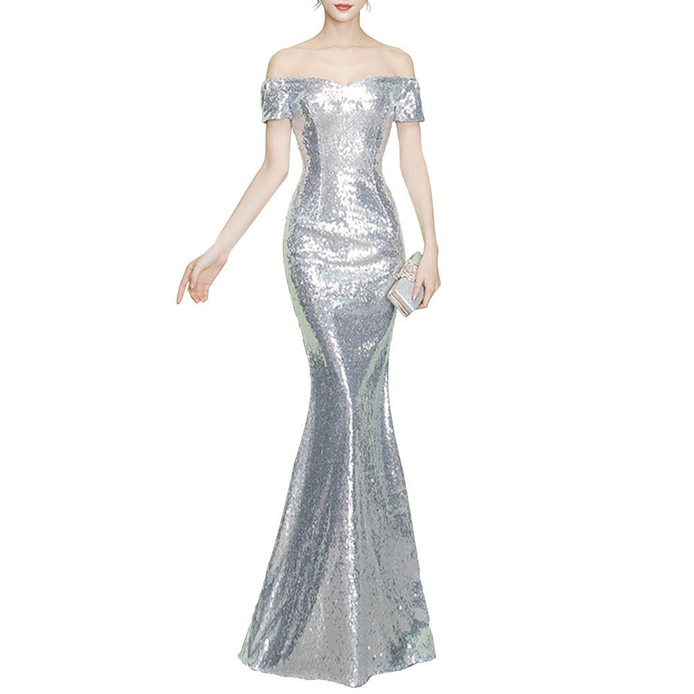 Primary image for Women's Off Shoulder Bridesmaids Sequin Mermaid Prom Evening Dress