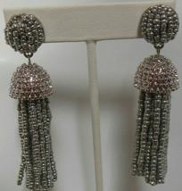 Signed BaubleBar Long Silver-tone Beaded Tassel Earrings - $31.68