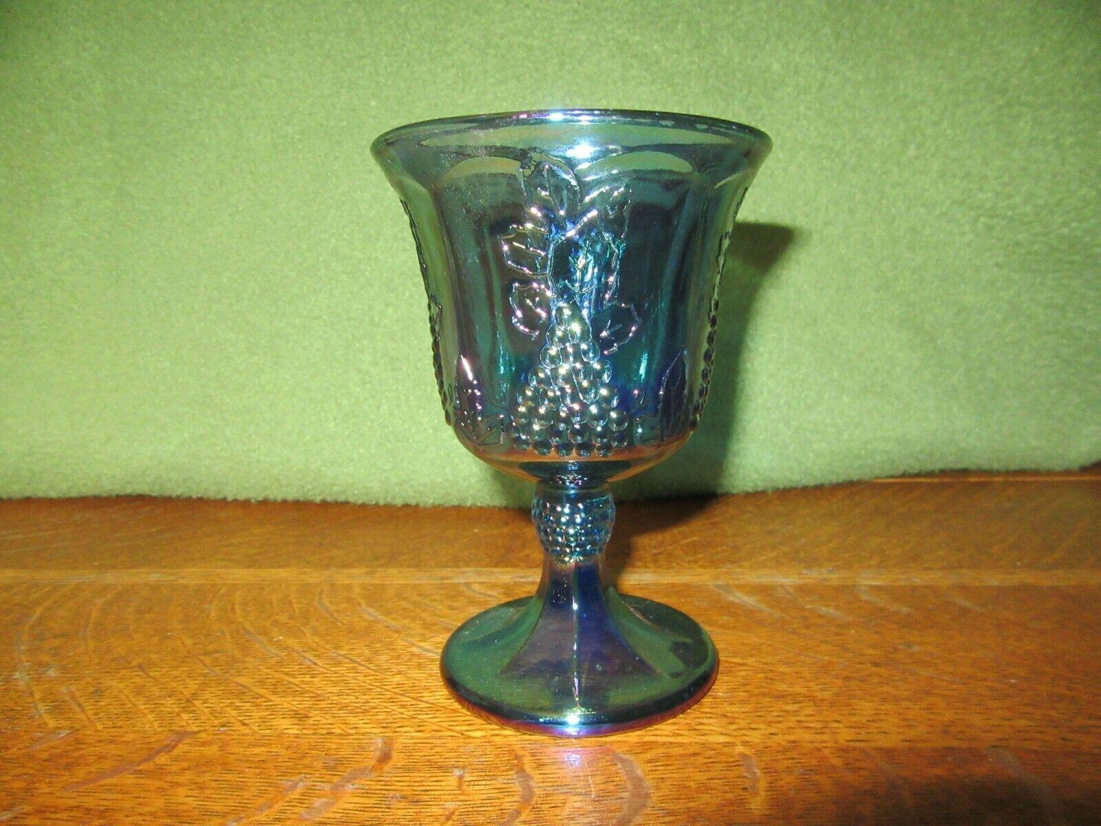 Vintage Iridescent Blue Carnival Glass Goblet Candle Holder-Grape