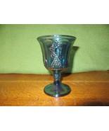Vintage Iridescent Blue Carnival Glass Goblet Candle Holder-Grape - $5.00