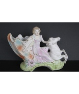 1950s Horse Planter Japan Bisque Lady in Seashell Chariot - $34.00
