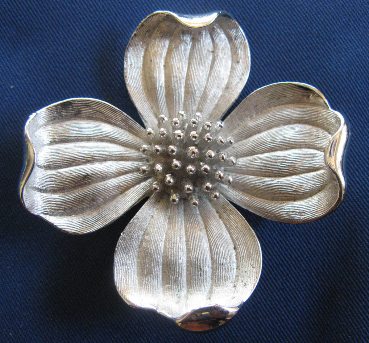 Primary image for Vintage Jewelry - Trifari Silver Color Flower Brooch Pin - (sku#4845)