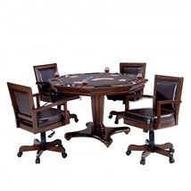 Game Table and Chair Set 5 Piece Man Cave Furniture w 4 Faux Leather Bac... - $2,303.56