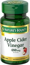 Nature's Bounty Apple Cider Vinegar Energy Levels and Metabolism 480mg, 200 Tab - $11.30