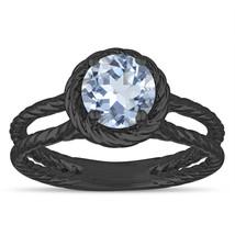 Blue Aquamarine Solitaire Engagement Ring Rope Design 0.85 Carat 14k Bla... - $1,150.00