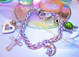 Haunted WITCH'S PERSONAL CHARM BRACELET 4 BLESSINGS MAGICK 925 WITCH Cas... - $99.77