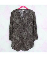Anthropologie Large L Grand & Greene Black Leopard Pullover Rayon Tunic ... - $24.74