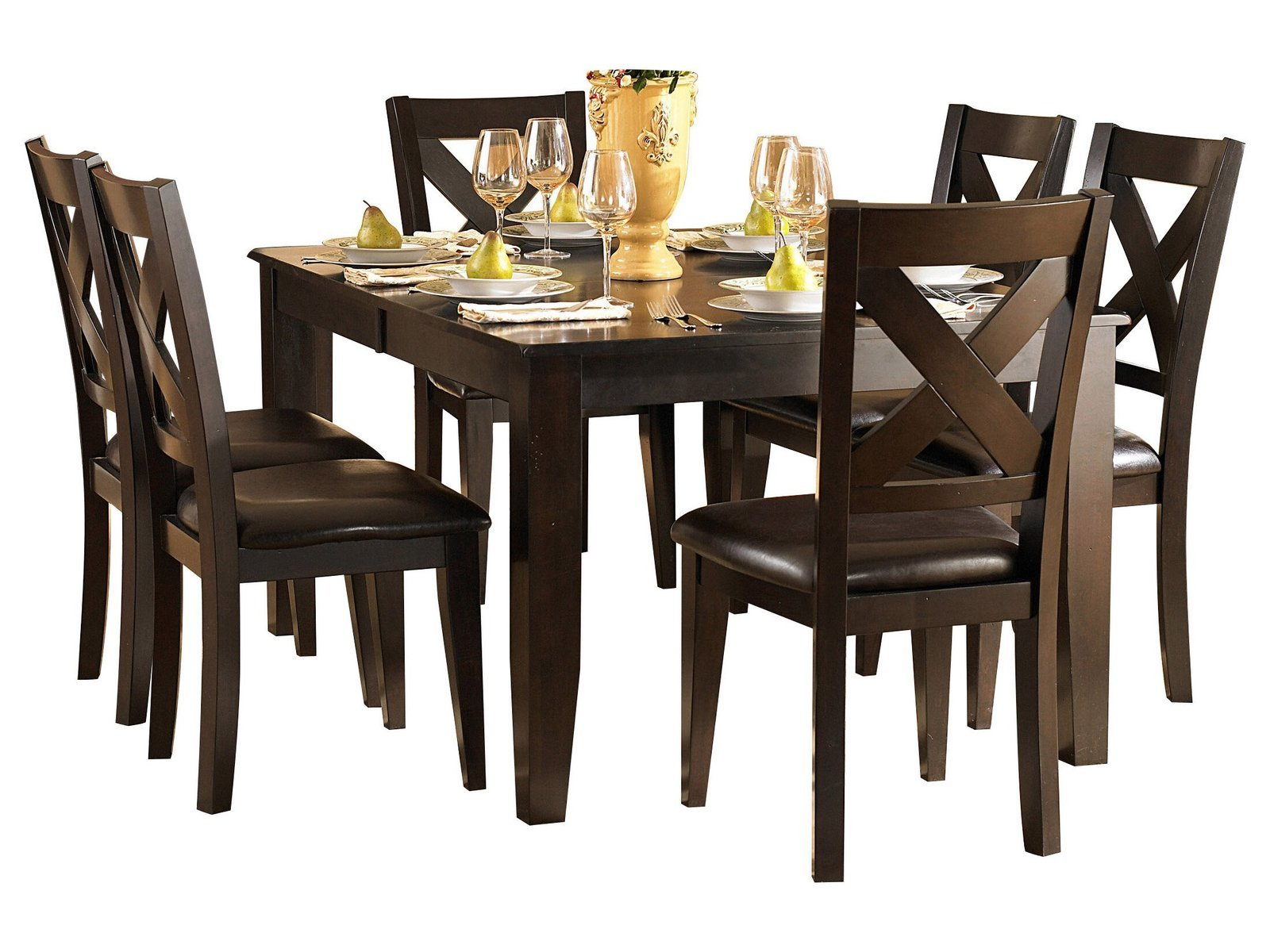 Creekmore Casual Modern 7PC Dining Set Table & 6 Chair In Merlot