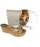 Jimmy Choo Prima Snake Leather Cork Wedge Sandals Signature Toe 39 Mules... - $269.00
