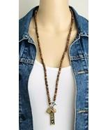 Sandalwood Hindu Goddess Rhinestone Bead Multi Pendant Spirituality Neck... - $13.86