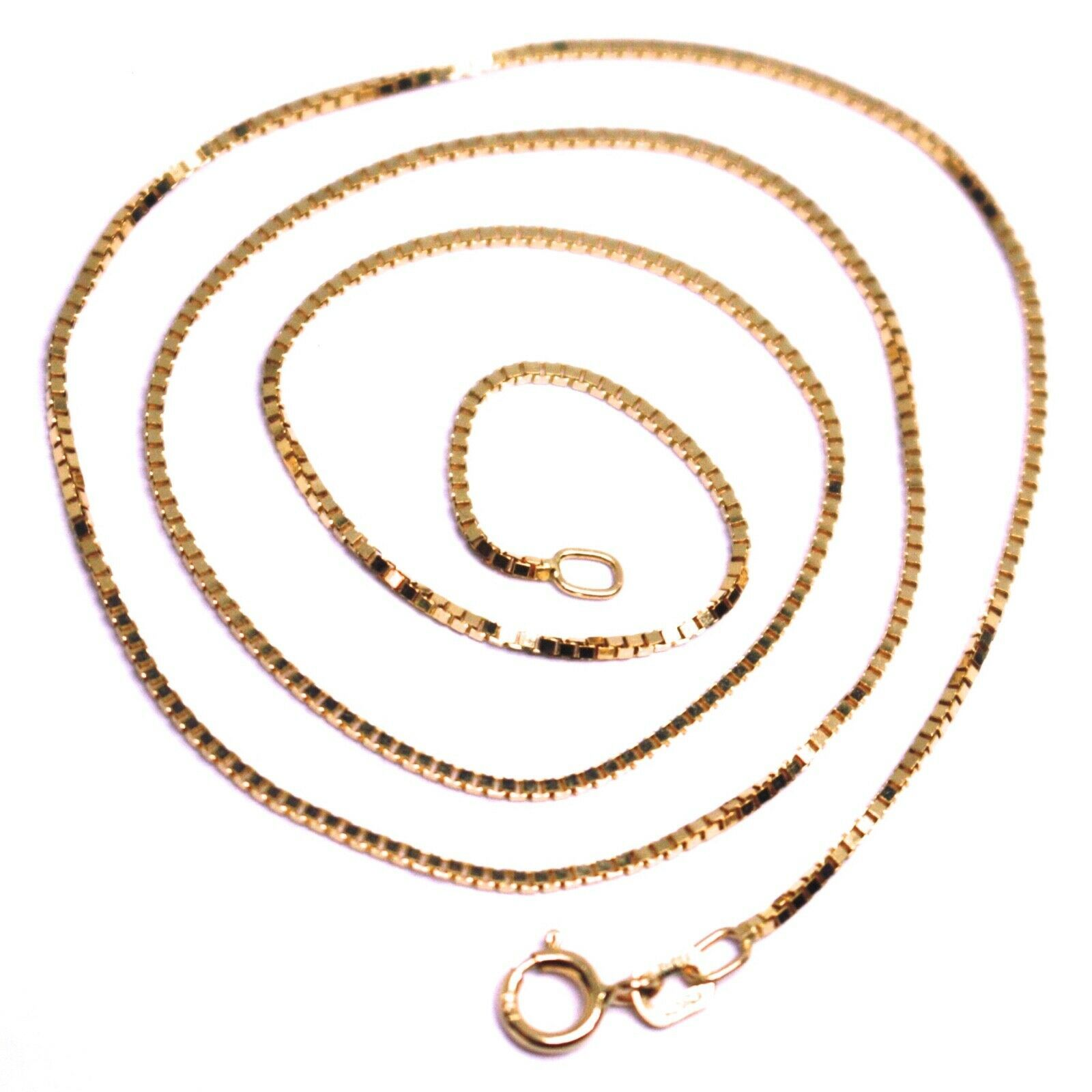 "SOLID 18K ROSE GOLD CHAIN 1.1 MM VENETIAN SQUARE BOX 19.7"", 50 cm, ITALY MADE"