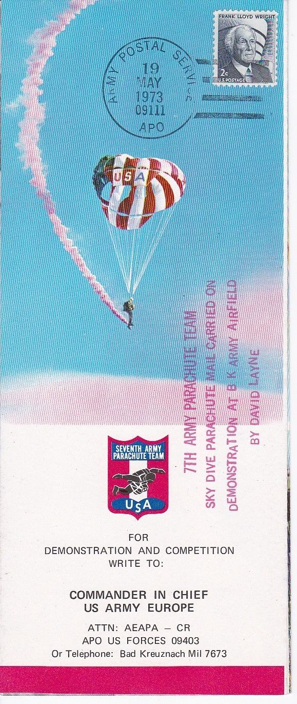 7th ARMY PARACHUTE TEAM PARACHUTE MAIL SIGNED BY 12 MEMBERS APO 1973 #24 OF 115