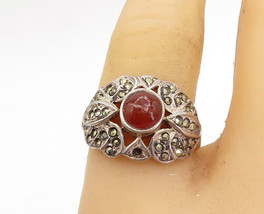925 Sterling Silver - Vintage Carnelian & Marcasite Cocktail Ring Sz 7 -... - $27.12