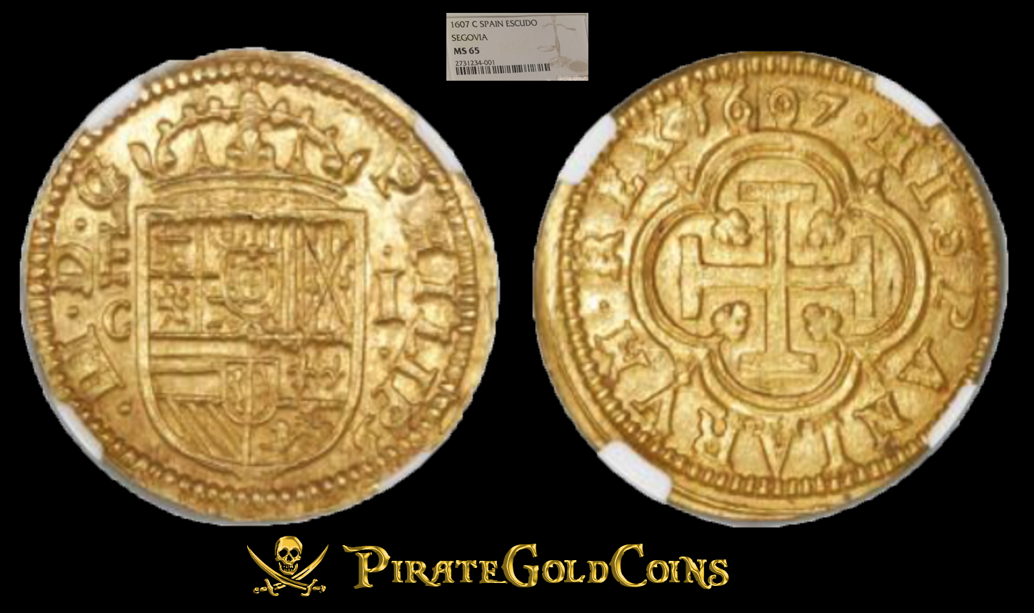 """SPAIN """"FINEST KNOWN of 5"""" 1607 1 ESCUDO NGC 65 GOLD DOUBLOON COB TREASURE COIN"""