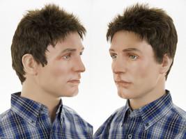 Youthful Short Spikey Grey Brunette Straight Men's Wig - $44.99